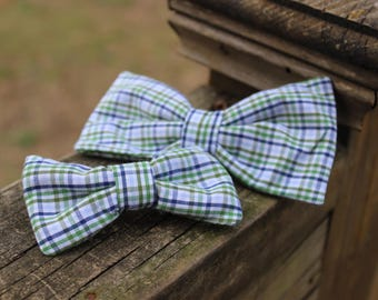 Green and Blue Plaid Little Boy Big Boy Bow Tie Clip on Bow Tie