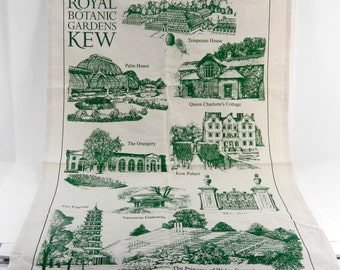 Royal Botanic Gardens KEW Kitchen Towel Printed Cotton Souvenir Made in UK LN 17753