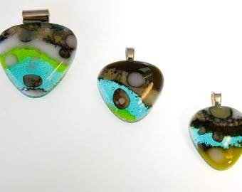 Art Glass Fused Pendants with Fine Silver Inclusions Creates Beautiful Fuming Color Changes and Variances in the Glass ~ SS Chain Optional