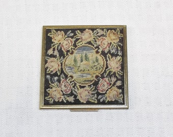 1950s Vintage Needlepoint Compact by Elgin American