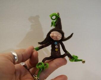 SALE ooak poseable very happy tiny ELF pixie  ( #24 ) polymer clay art doll by DinkyDarlings  fairy angel