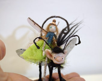 ooak poseable Tiny green PIXIE fairy rides a dragonfly  ( #7 ) polymer clay art doll by DinkyDarlings   faerie faery angel