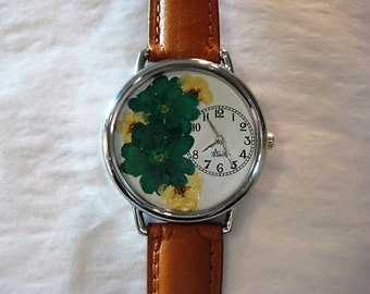 Pressed Flower Watch, Watch with Turquoise Verbena and Bridal Wreath, Pressed Flowers, Watch For Women, Pressed Flower Watch, Flowers Watch