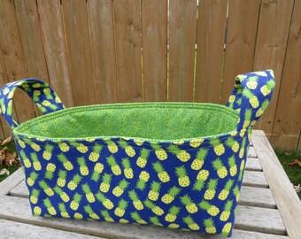 Fabric Basket Bin, Storage, Organization, Home Decor, Gift Bin, Fabric Bin, Pineapples on Blue with Green, Small Size