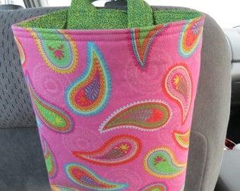 Trash Bin, Car Trash Bag, Cute Car Accessories, Headrest Bag, Trash Container, Paisley Swirls on Pink