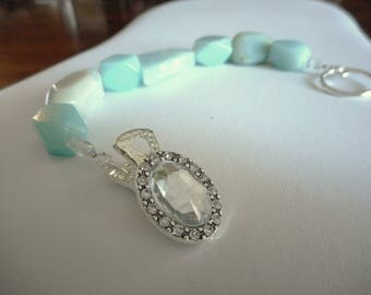 Island Song Bracelet ...natural Amazonite, alligator clip clasp ... #756