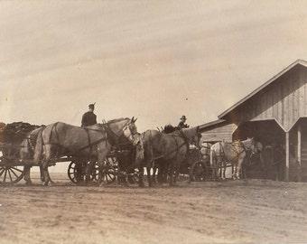 Original Vintage RPPC Photograph Men Draft Horse Teams & Wagons Farmers 1900s-10s