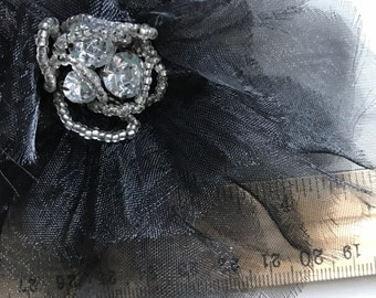 SILK  FLOWER w/ Rhinestone ,  Black / TMP