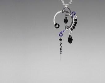 Black Swarovski Crystal Steampunk Pendant, Crystal Pendant, Swarovski Necklace, Watch Parts, Bridal Jewelry, Tyche v12