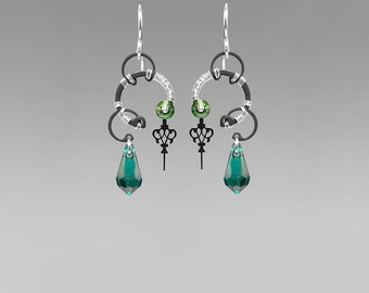 Emerald Swarovski Crystal Steampunk Earrings, Green Crystal, Swarovski Earrings, Wedding Jewelry, Green Crystal Earrings, Aphrodite II v7