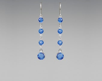 Blue Swarovski Crystal Earrings, Sapphire Swarovski, Sparkly Earrings, Formal Jewelry, Statement Earrings, Bridal Jewelry, Special Occasion