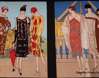 FABRIC GLAMOUR GIRLS Blocks Women of the 1920's Fashion  We combine shipping  See the Matching coordinate fabric
