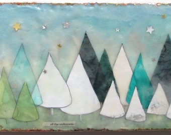 Encaustic Painting, encaustic art, tree illustration, forest painting, tree painting
