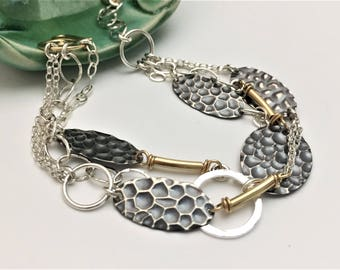 Mixed Metal Hammered Oval Bracelet - Multi strand, Multi chain, Sterling Silver, Gold Filled- B210SG Handmade by cristysjewelry