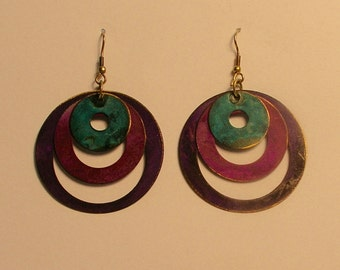 Concentric circles blue, pink & purple patina copper earrings
