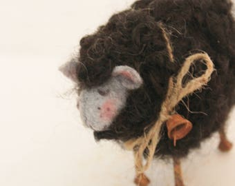 Black Fuzzy Needle Felted Black Sheep #2534