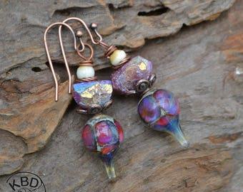 Mystic Lepidolite Nugget and Lampwork Earrings