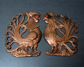 Pair of Cast Aluminum Roosters Wall Hangings, Metal Rooster Wall Plaques, Kitschy Kitchen Decor