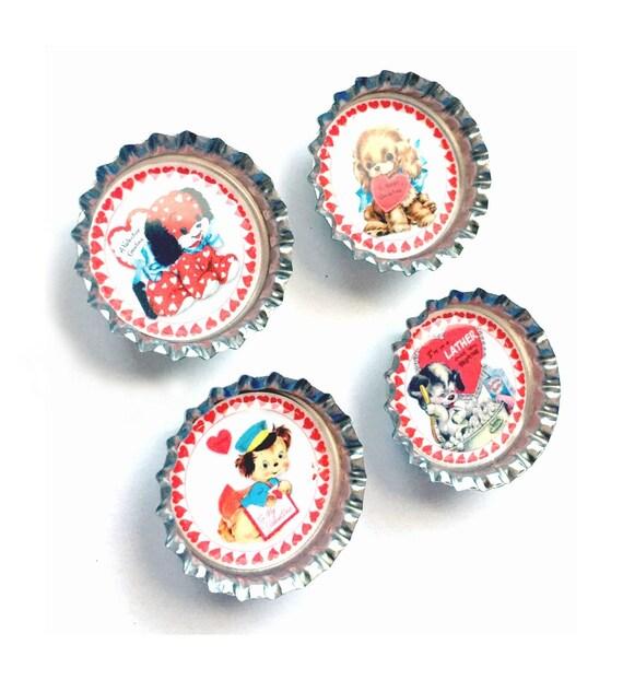 Puppy Valentine Magnet Set, Bottle Cap Cat Valentine Magnet Set, Four Dogs Magnets, 4 Puppy Magnet Set, Red Pink White Dog Heart Magnet Set
