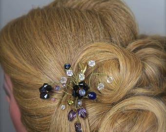Bridal Hair Pin, Wedding Hair Comb, Bridal Comb Set, Silver Hair Accessories, Gold Hair Jewelry,