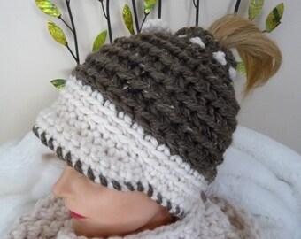 Pattern Ridgely Textured Messy Bun Ponytail Newsboy Hat