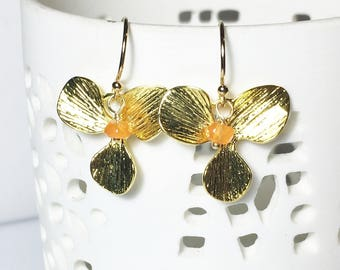 25% OFF Gold Flower Earrings, Carnelian Gemstone, Orchid Textured Drops, Gifts for Her