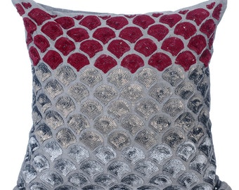 Decorative Throw Pillow Covers Couch Toss Bed Pillow Case 16x16 Grey Silver Silk Pillow Cover Sequins Embroidered - Cranberry Space