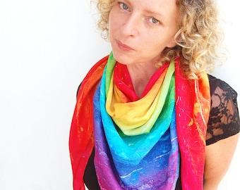 Rainbow Essence - Rainbow Silk Scarf, Chakra Scarf, Ibiza Scarf, Square Scarf, Rainbow Shawl, Colorful Scarf, Positive Scarf, Designer scarf