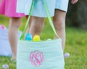 Sea Green Seersucker Easter Bucket~Green Toy Bucket-Monogram included