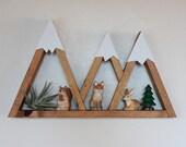 3 Sisters Mountain Shelf Room Decor Snow Peak Mountain Forest Reclaimed Wood Triangle Geometric