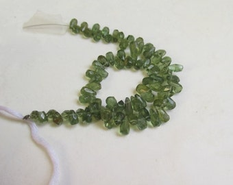 Natural Green Apatite Briolette Beads, Natural Hard To Find 1/2 Strand, 6mm briolette bead
