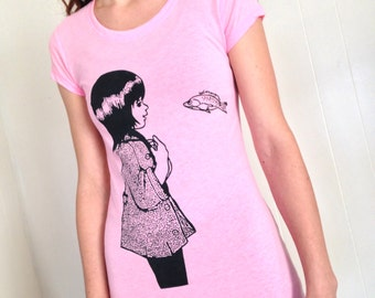 Underwater Kate screenprint womens tshirt. Neon pink with eco black ink - junior womens size Small