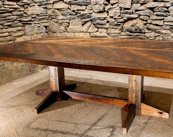 The Refectory - Reclaimed Wood Chevron Pattern Dining Table