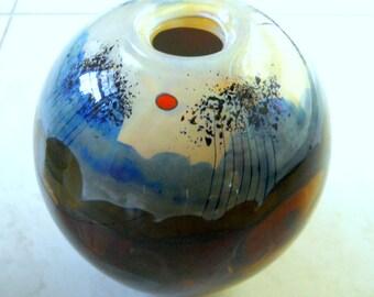 Early Studio Art Glass Vase - Signed Rich Miller Landscape Vase - Contemporary Art - Abstract Vase
