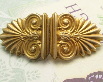 Art Deco Swirls Barrette Large Hair barrettes Thick hair clips golden ocean wave Wedding Hair Accessories Thick Hair French Barrette