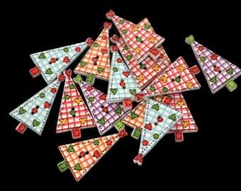 Primitive Buttons, Prim Tree Buttons, Christmas Buttons, Tree Sewing Buttons, Holiday Buttons, Xmas Tree Buttons, Novelty Buttons