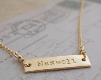 Personalized Bar Necklace - 14K Yellow Gold Filled by Eclectic Wendy Designs