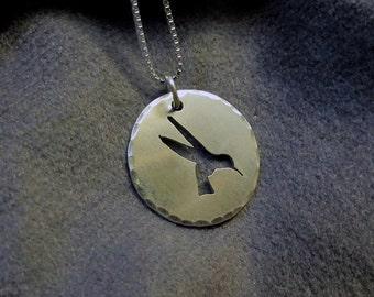 Argentium Sterling Silver Hummingbird Pendant