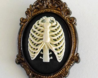 Gothic ribcage cameo brooch