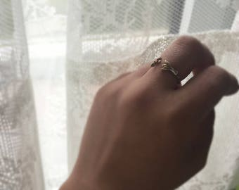 Nature ring-14K solid ring-Succulent jewelry-Sterling silver twig ring-Botanical jewelry-Nature inspired ring-mom gift