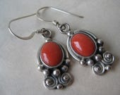 Coral Dangle Sterling Earrings Pierced Wire Silver Vintage 925 Southwest