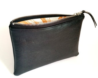 VEGAN Leather Pouch. Black Faux Leather. Zippered Wallet. Upcycled Change Purse. Cosmetic Bag. Makeup Bag. Ready To Ship