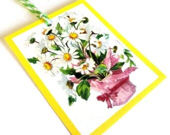2 Gift Tags, Bouquet of Daisies, White Pink Green Yellow Tags,  Party Favor Tags, Hang Tags