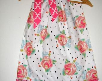pillowcase dress SALE 10% off code is tiljan Shabby rose  pillowcase dress sizes 3,6,9,12,18 months , 2t, 3t, 4t, 5t, 6, 7, 8 10, 12