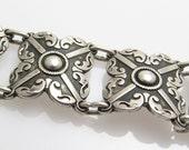 Wide Mexican Sterling Panel Link Bracelet Vintage Jewelry B7645