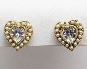 Vintage Rhinestone Pearl Earrings Small Earrings Pearl Jewelry E7582