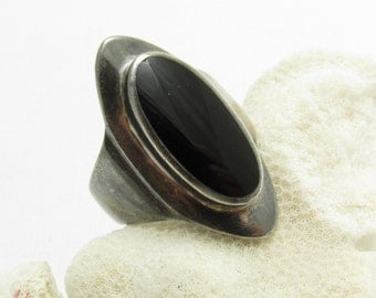 Long Sterling Onyx Ring Wide Band Black Vintage Jewelry R7656