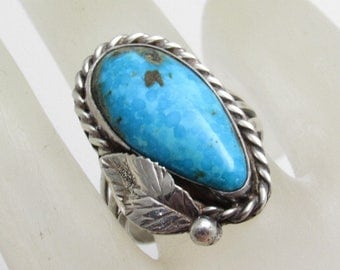 Long Turquoise Sterling Ring Vintage Boho Jewelry Southwestern Ring R7671