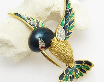 Rhinestone Hummingbird Brooch Vintage Enamel Bird Jewelry P7706
