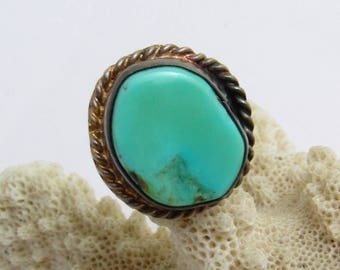 Turquoise Sterling Ring Vintage Artisan Jewelry R7713